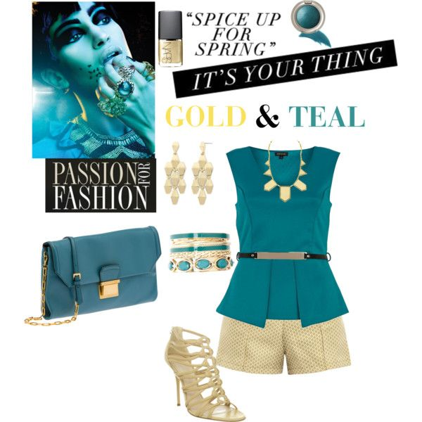 Gold & Teal Shorts Outfit by diva1023 on Polyvore featuring polyvore, fashion, style, River Island, Anna & Boy, Casadei, Miu Miu, Charlotte Russe, Liz Claiborne, House of Harlow 1960, ArtDeco, Ellis Faas and NARS Cosmetics