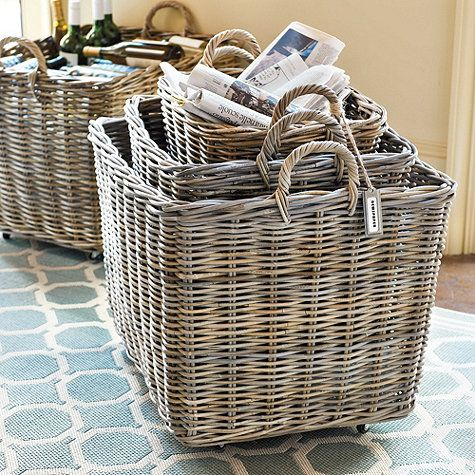 Set of 3 Wheeled Baskets - neat idea for backdoor