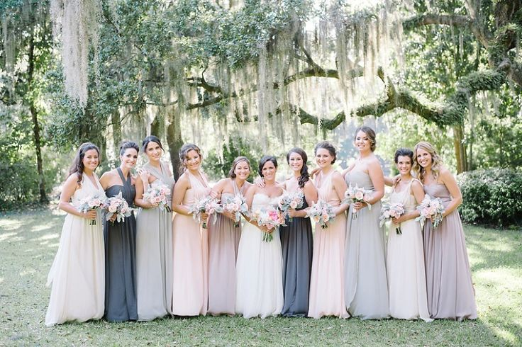 Soft Toned Mismatched Bridesmaids Dresses | Classic Southern Halloween Wedding at The Legare Waring House by Charleston Wedding Planner ELM Events