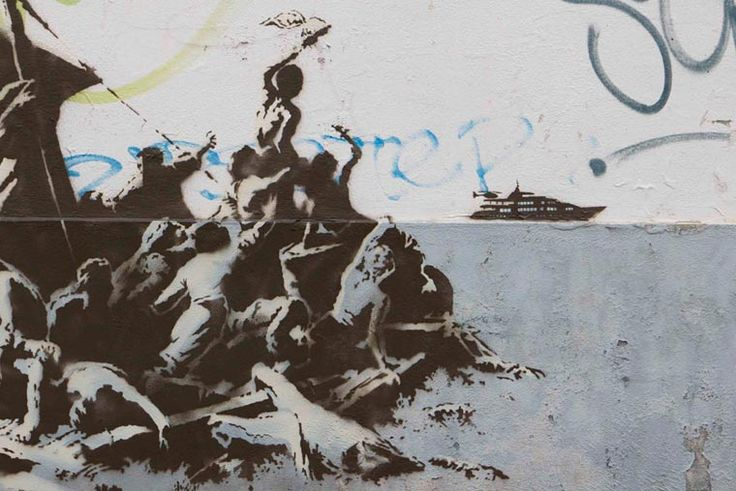 Migrants. / Calais, France. / By Banksy.