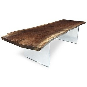 OH MAN! Solid wood table with plexi base. Need this! @ Hudson Furniture Inc.