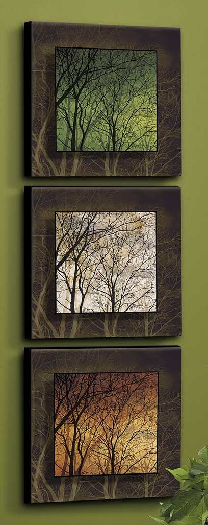 Among Trees-Set/3-Cream, Rust & Green