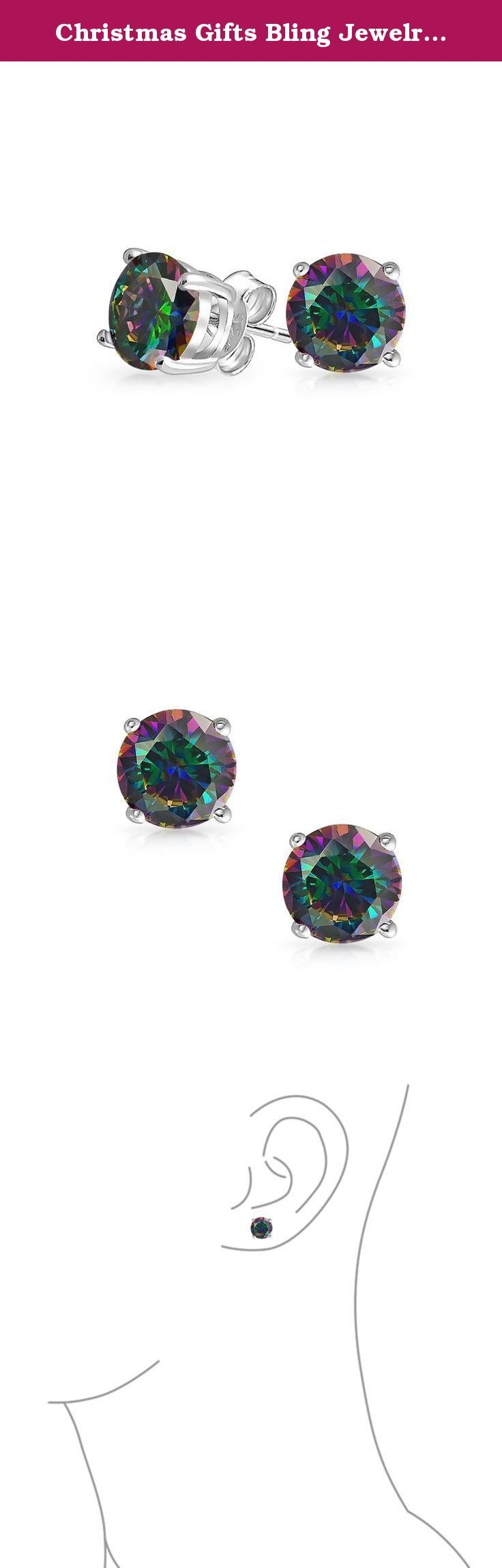 Christmas Gifts Bling Jewelry 925 Silver Rainbow CZ Stud Earrings 6mm. Bring in a hint of sparkle with our rainbow color stud earrings. These stud earrings are made of 925 sterling silver with a round cut Simulated Rainbow Topaz color gemstone. These gorgeous stud earrings make fantastic gifts for any occasion. For pierced ears only.