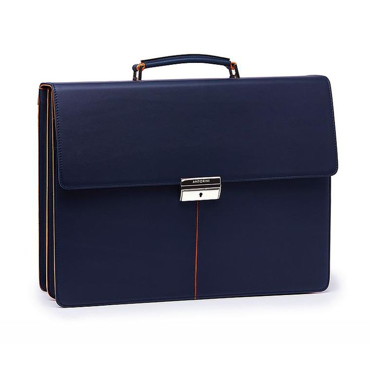Executive Leather Briefcase, Navy&Orange