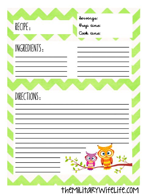 Hey folks! Happy Free Printable Friday!! Today I'm hooking you up with this recipe page I made. I created it as an insert for an owl-themed recipe binder that I'm in the process of putting together for a friend of mine who's getting married soon. Don't worry, I'll post the deets about my recipe binder …