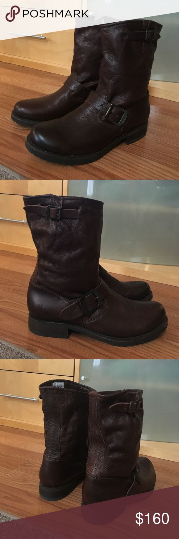 """FRYE Veronica Slouch Shortie Brown Boots 7.5 Hello, this is a fabulous pair of women's FRYE boots. They are in great condition! Soft, supple leather shapes the slouchable shaft of a pull-on boot with a utilitarian vibe. Size 7.5M. Style - Veronica Shortie. Color - Dark Brown. 9"""" shaft height, 13"""" shaft circumference, 1"""" heel height. Please send me any questions, thanks! Frye Shoes Ankle Boots & Booties"""
