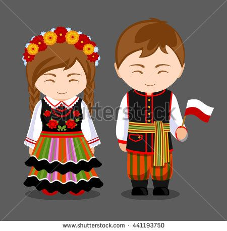 Poles in national dress with a flag. A man and a woman in traditional costume. Travel to Poland. People. Vector flat illustration.