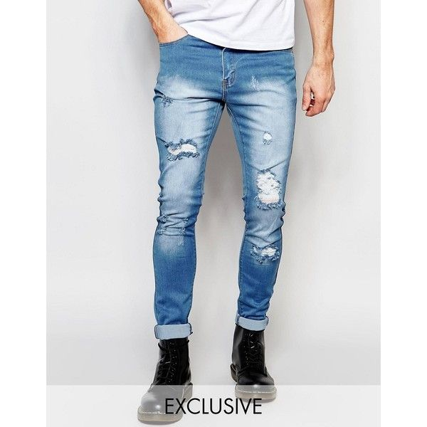 Liquor & Poker Skinny Extreme Rips Jeans in Light Stonewash ($59) ❤ liked on Polyvore featuring men's fashion, men's clothing, men's jeans, blue, mens super skinny jeans, mens destroyed jeans, mens ripped jeans, mens ripped skinny jeans and tall mens jeans