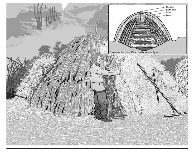 https://flic.kr/p/ziStRw | Charcoal burner visualisation | This image was created for the final report on Killaspy Sites 12-14 of the N25 Waterford City Bypass. The illustration is a tracing and re-interpretation of a photograph from 'Rural Life: The Village Craftsman' (citation needed).