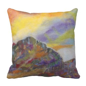 Add that special touch to your home decor with this exclusive Marys Planet design by Artist Mary Zimmerman. See more great pillows at zazzle.com/MaryZimmermanDesigns #abstract #decorative #pillows #gifts #for #her #trendy #funky #fun #colorful #planet #mountains #nature