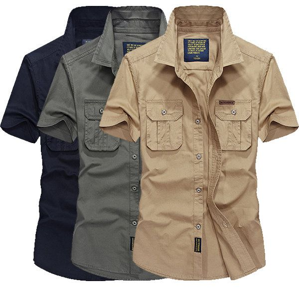 AFSJEEP Mens Outdoor Summer Cotton Solid Color Double Pockets Casual Cargo Shirts at Banggood