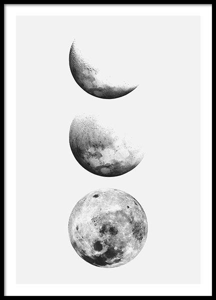 Zwart-wit print met foto's van maan