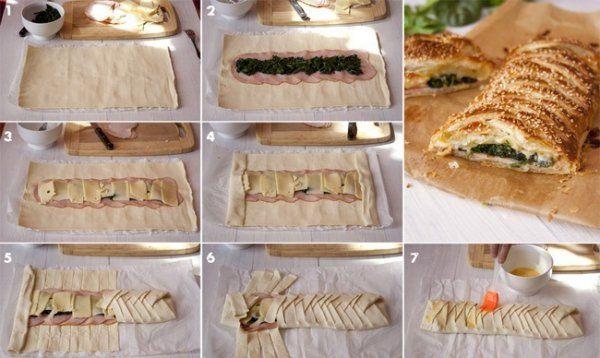 Ciasto francuskie z szynką, szpinakiem i serem!