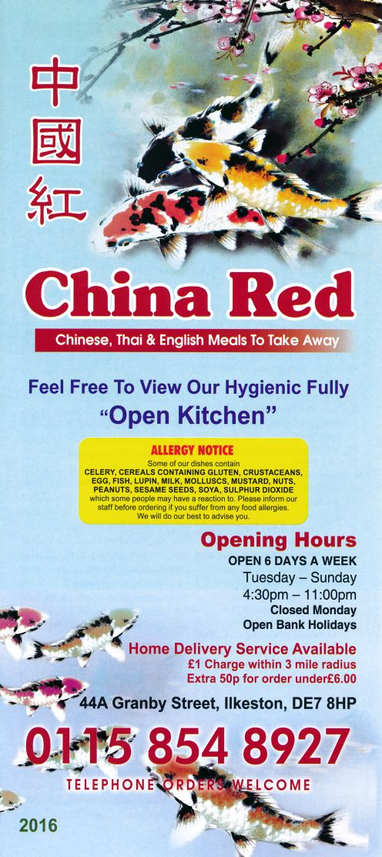 Menu for China Red Chinese takeaway on Granby Street in Ilkeston DE7 8HP. For the full menu - http://www.menulation.com/china-red-chinese-takeaway-menu.html #Chinese #food #takeaway #menu #Ilkeston #Derbyshire #takeawaymenu