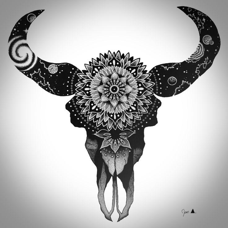 Cosmic Bull-skulldone by: Jan Andrestumblr: eat-my-panda.tumblr.cominstagram: janandres21