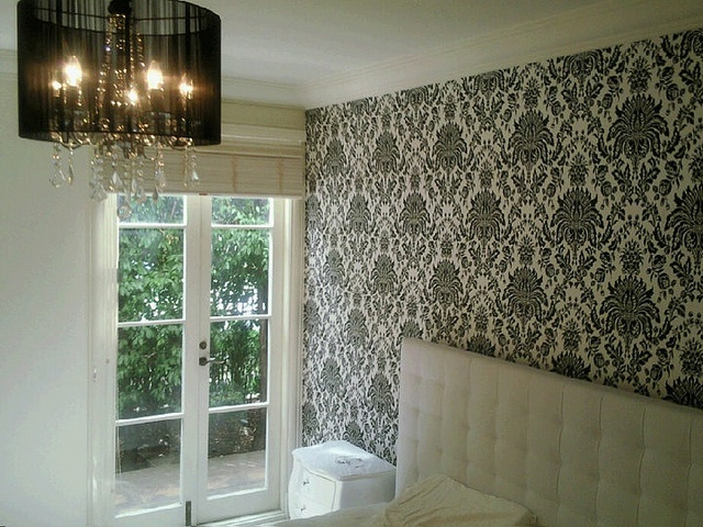 Damask Bedroom Wallpaper installed by Aidan Griffin at Cutting Edge Wallpapering