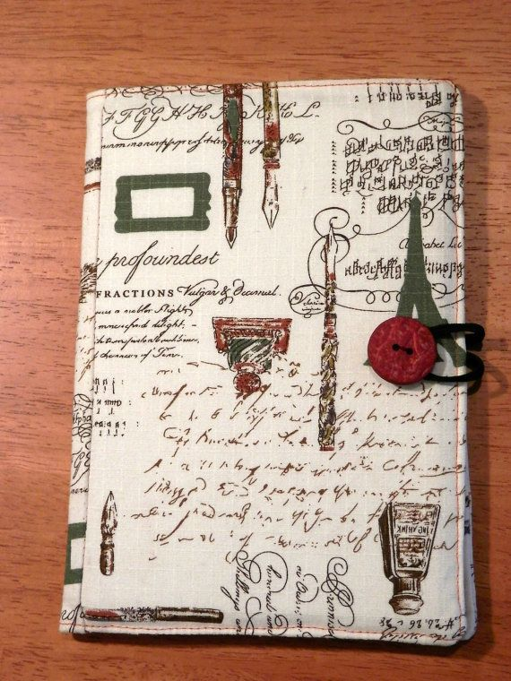 Kindle, Nook, Kobo E-Reader Cover/Book  Vintage Eiffel Tower, Ink Well and Hand writing E-Reader Cover