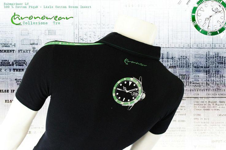 Polo CHRONOWEAR ROLEX SUBMARINER GREEN BEZEL ( Lunetta Verde) PAUL NEWMAN - Black with Green LORO PIANA lisle cotton insert  - infos : info@chronowear.it
