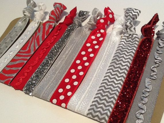 THE OHIO STATE Buckeyes Scarlet Red, Gray Chevron Silver Glitter Hair Ties
