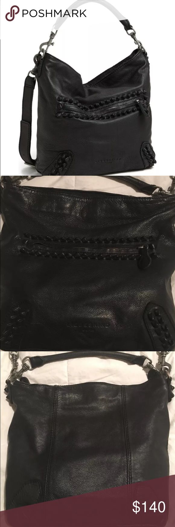 """Liebeskind Vintage Knot Leather Hobo crossbody Amazing edgy black bag, knotted leather detail, shoulder strap plus a nice wide adjustable cross body strap. Exterior zip pocket, interior zip pocket plus 3 slip pockets. Small tear in inside lining, not noticeable. A little bit of wear on some hardware but this bag was just professionally conditioned so it's in great shape. Measures flat: 15' wide 12.75"""" tall, 4.25"""" wide (from bottom). Liebeskind Bags Shoulder Bags"""