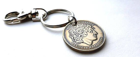 Greek coin keychain Alexander the Great Ancient Greece