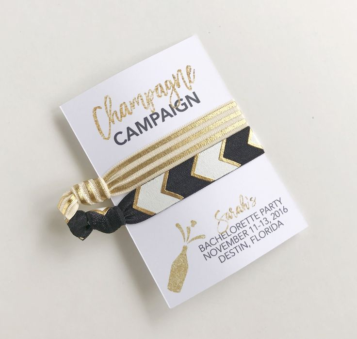 Bachelorette Party Favors, Champagne Campaign, Champagne Bachelorette, Hair Tie Favors, Bachelorette Favors, Bachelorette Party by PoppyandErie on Etsy https://www.etsy.com/listing/514229645/bachelorette-party-favors-champagne
