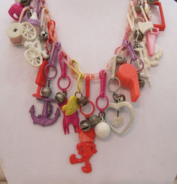 Vintage 80s plastic charm necklace Loved these!