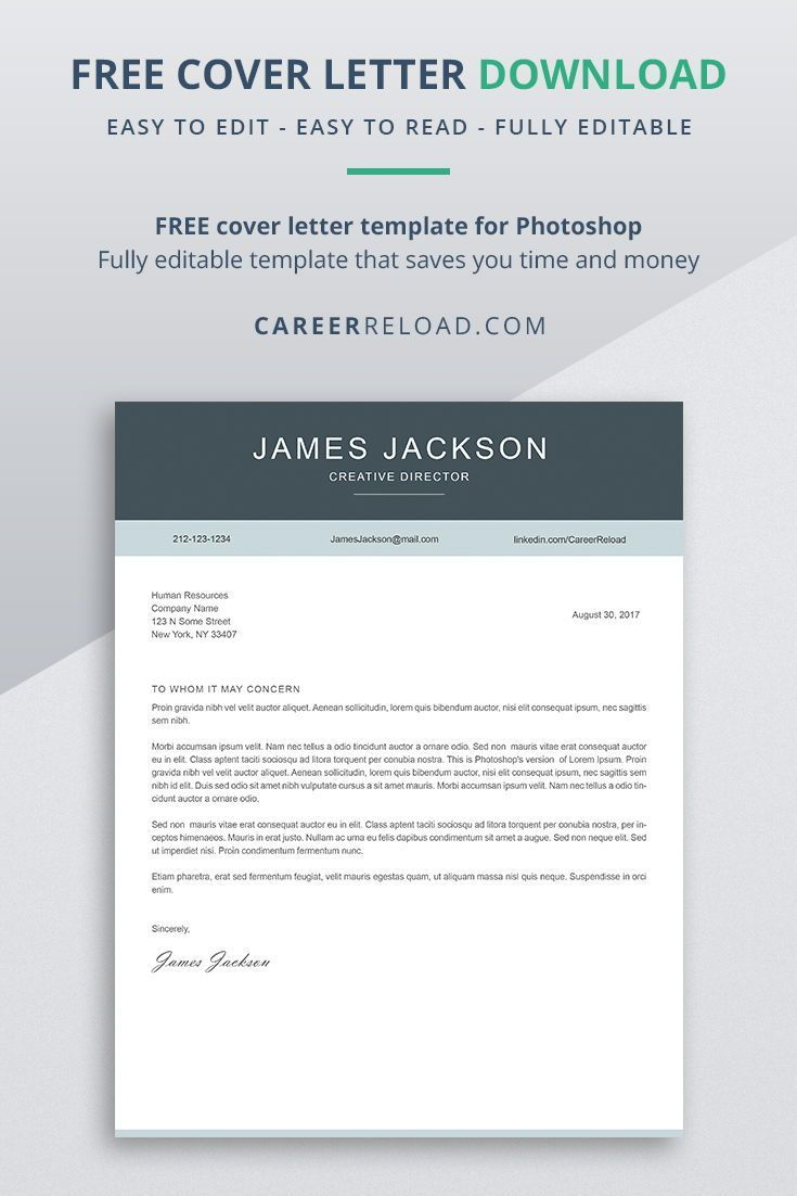 Pin On Free Cover Letter Templates