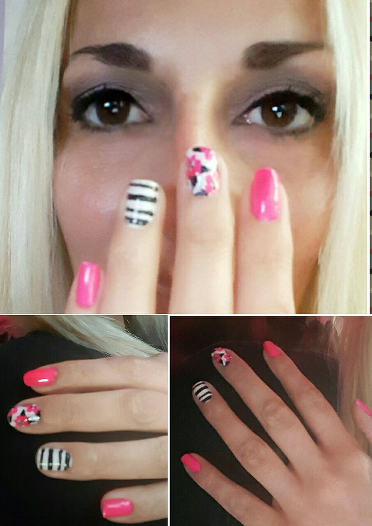 Pink flowers and stripes nail art