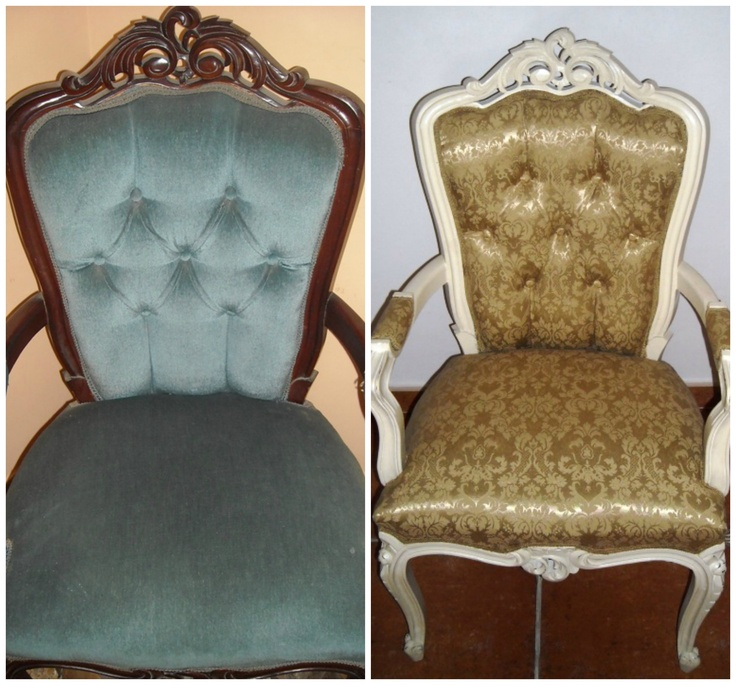 """This is a before and after of a chair that I found abandoned by a rubbish tip. I painted the chair in """"eggshell"""" and re-upholstered it in a lovley pale green material."""