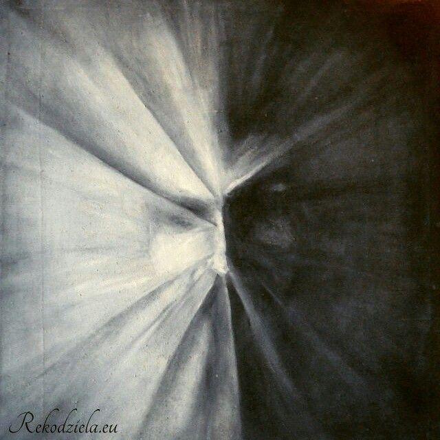'Krzyk' 'Scream'  Obraz na płótnie, olej.  #black&white #twarz #mrok Rekodziela.eu