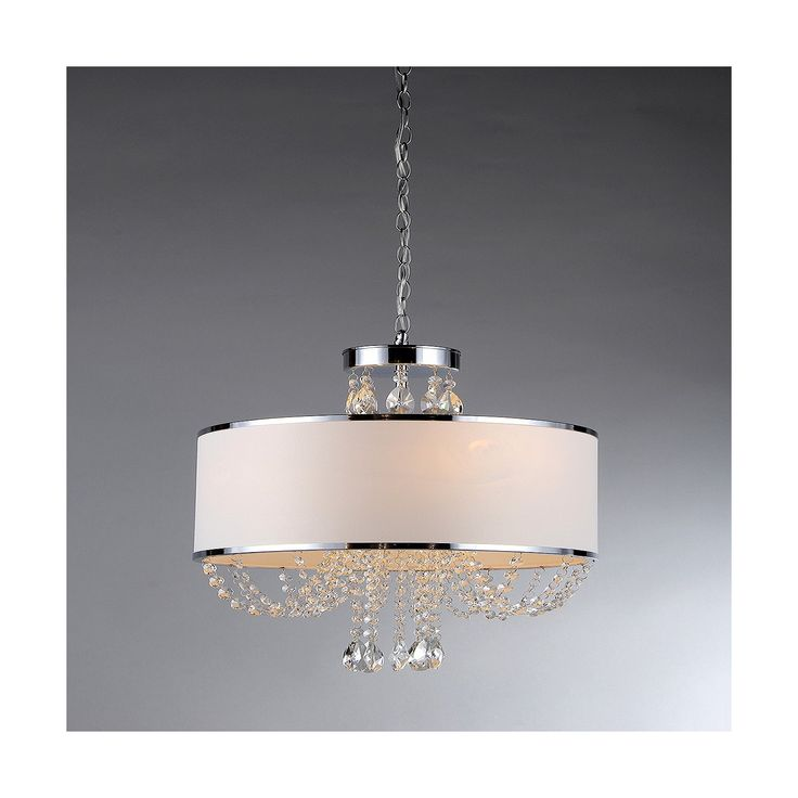 Pretty and polished, this Warehouse Of Tiffany Chandelier Ceiling Lights – Silver is one you will want to showcase in your home. Combining shiny silver accents with sparkling crystals, this beautiful light gives off a soft glow with a touch of glam. The white drum-shaped lamp shade is finished with silver trim while glimmering crystals drip in perfect swags below. Hang this ceiling light, which has four bulbs, over your dining table or in your entryway for a show-stopping look.