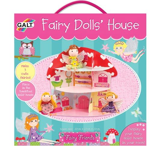 Fairy Dolls' House WAS £10.99 NOW £5.49  Create a toadstool fairy dolls' house and three cute fairies! Slot together the house pieces then create the fairies by gluing together the heads, cord, fabric pieces and gems. The skirts, hands and feet are made by simply fraying the thick cord. Contents: printed house in thick wipe-clean board, 3 fairy kits with soft heads, thick cord, assorted pre-cut fabric pieces, shiny wings, gems and ribbon plus glue and guide.