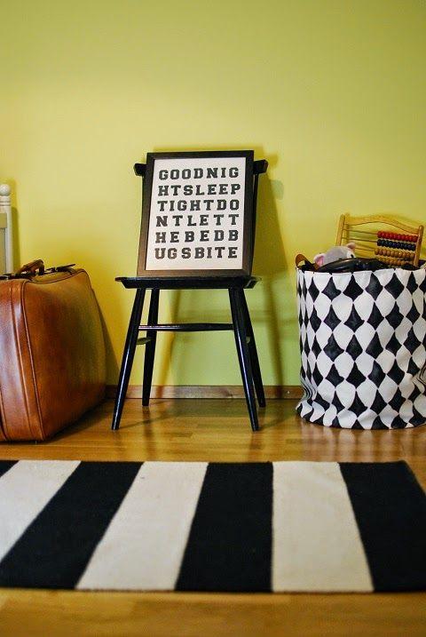 DecoDreamer's Diary: Kids' room, yellow wall, black-and-white, lastenhuone, keltainen seinä, mustavalkoinen