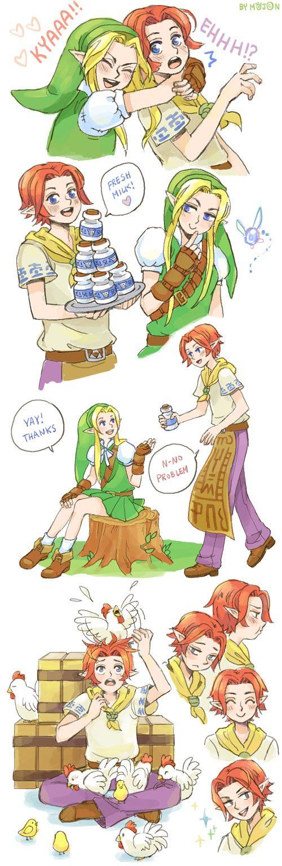 Link and Malon genderbend by Pallid Legend Of Zelda