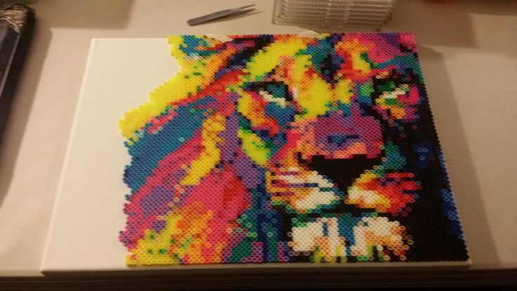 Colorful Lion perler beads by INeedAName123v
