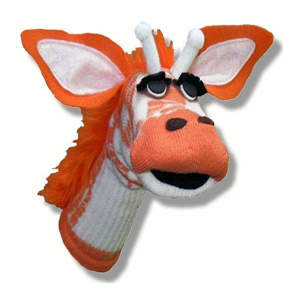 Handmade Toy Giraffe Sock Puppet on Etsy, $36.00