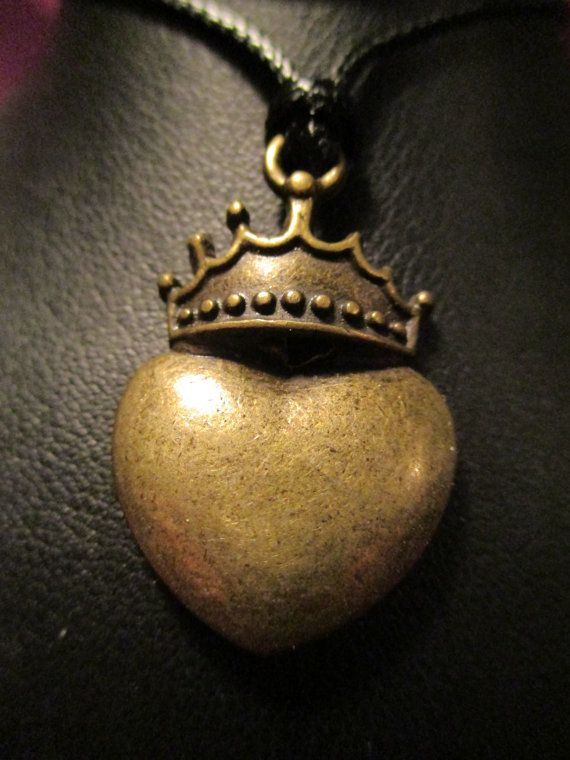 Heart with Crown Pendant on Adjustable Cord by ChocolateMountain