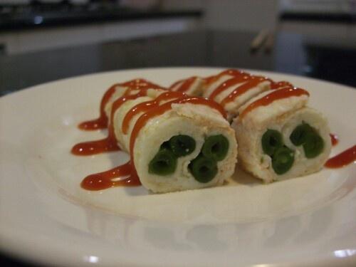 Eggroll with stringless beans filling  #eggroll #japanesefood