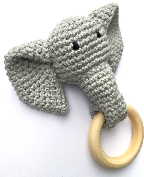 Grey Crochet Elephant Teething Ring / Wood Teether by STUDIO1859