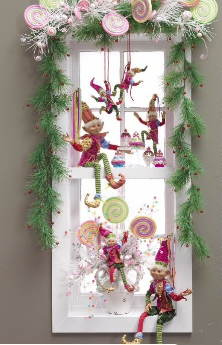 Christmas Candy Elves window decoration: