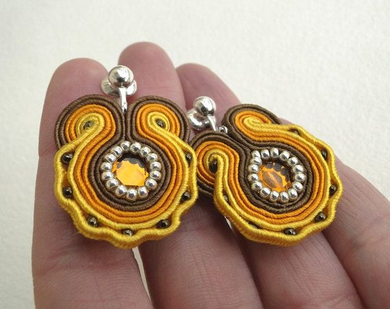 Cande, soutache Clip On Earrings, Clip Ons with brown and orange strips, acrylic and glass beads (Toho beads)