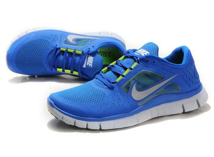 374meoIt Nike Free 3 Blue Silver Women's Shoes