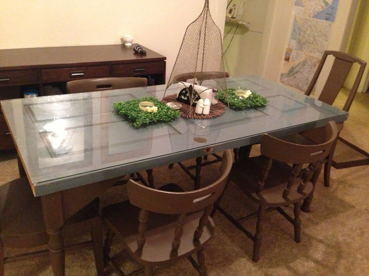 made our dining room table out of an old door for the study