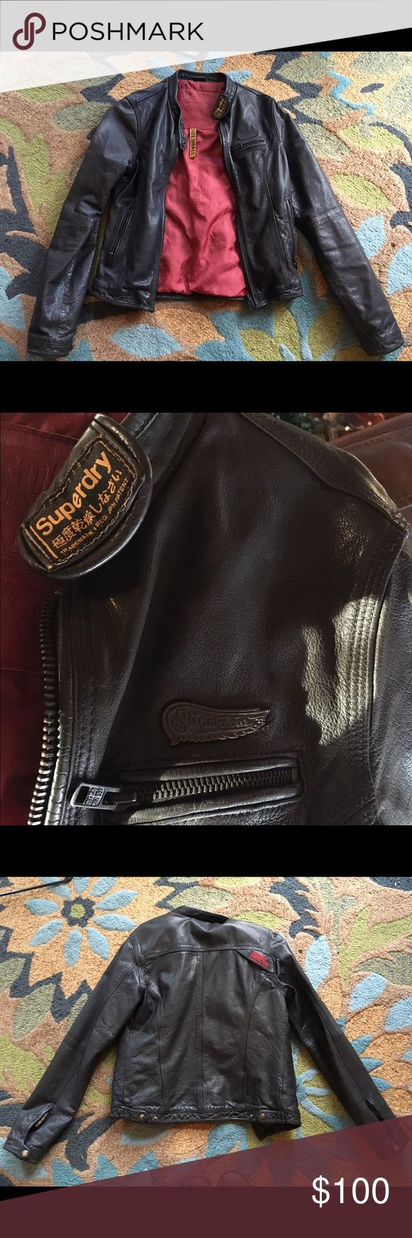 Women's Superdry Leather Jacket Small This is an amazing leather jacket. I bought this in England for around $300 a few years ago. Its in great condition and well made. Superdry Jackets & Coats