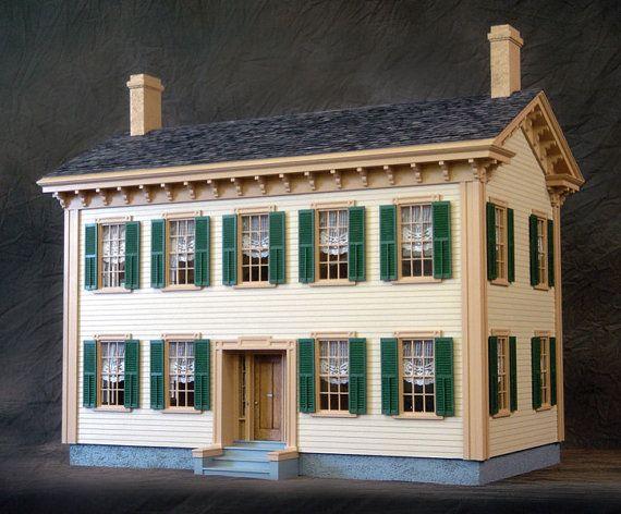 Historic Mansion Wooden Dollhouse Kit by miniaturerosegarden