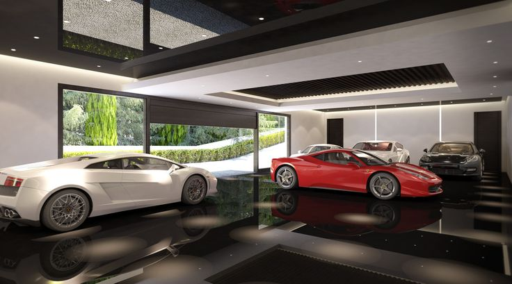 Garage in a luxury real estate in san roque spain for Luxury garage interiors