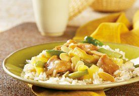 Slow Cooked Pacific Island Chicken and Rice-   Pineapple, soy sauce and garlic work together to flavor this tender Pacific Island Chicken and Rice that slow cooks all day to make a mouthwatering, Polynesian-style supper. Slow cooker chicken recipes like this are simply a delight to the senses.       Serves: 8 (1 1/2 cups each)