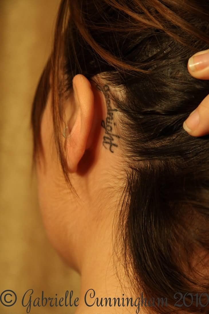 Goodnight Word Tattoo On Girl Left Behind The Ear Neck Tattoo Name Tattoos On Neck Tattoos