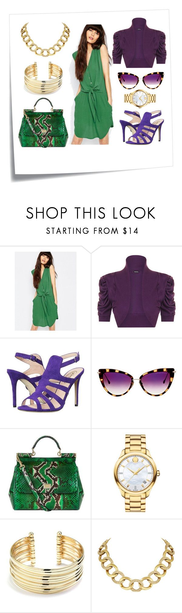 """green day"" by slavulienka on Polyvore featuring Post-It, SELECTED, WearAll, SJP, Dita, Dolce&Gabbana, Movado, Belk Silverworks, House of Harlow 1960 and plus size clothing"